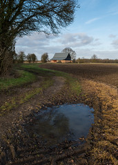 Rural Tracks (Stickyemu) Tags: landscape rural suffolk countryside barn dirttrack puddle field mud brown sky bule green lines curves nikond500 nikon1755mm28dx farm coultchestr