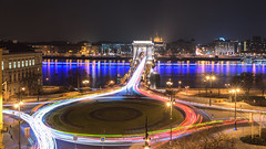 Crowded City Hours (BenedekM) Tags: city hungary hungarian chainbridge budapest cycle lights architecture buildings lamps roads street nikond3200 d3200 nikon cars sigma1750f28 1750f28 danube river bridge