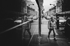 not amused (Zesk MF) Tags: bw black white mono street cologne urban people candid strase zesk x100f fuji reflection spiegelung mirroring