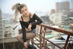 Nice - Crop Top Booty Shorts Fishnet Tights And Boots (asian53) Tags: asian bootyshorts croptop fishnettights girl hot nicelegs
