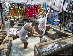 Deep In The Dhobi Ghat (channel packet) Tags: india mumbai dhobi ghat laundry washing clothes service water soap davidhill