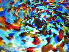Color Birth (Robert Cowlishaw (Mertonian)) Tags: glass playinginlight backyardphotolab colours colors mertonian robertcowlishaw canonpowershotsx70hs canon powershot sx70hs hope light awe wonder beautiful beauty simplicity swirling dancing