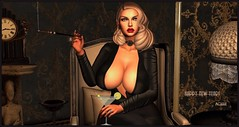 Happy New Year! (Moxxie Kalinakova) Tags: sexy blonde curvy boobs tits class smoking drinking holiday black retro vintage moxxie kalinakova