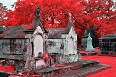 New Orleans Metairie Cemetery (infrared) (dr_marvel) Tags: ir infrared neworleans nola red falsecolor cemetery mausoleum tombs graves burials louisiana metairiecemetery foliage trees leaves