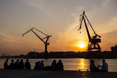 Spring Evening (Rudi Pauwels) Tags: 2019onephotoeachday goteborg gothenburg stenpiren sunset cranes evening silhouettes 94365 people