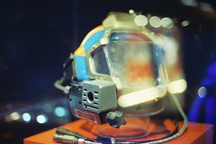 Dive Helmet From The Abyss (goodfella2459) Tags: nikonf4 afnikkor50mmf14dlens cinestill800t 35mm c41 film analog colour helmet theabyss nationalmaritimemuseum sydney history jamescameron jamescameronchallengingthedeep