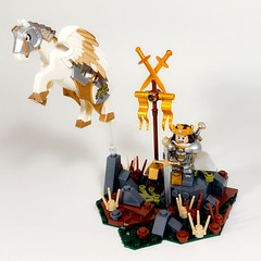 Holy Land Faction Lord: King Leonreante (Royal Pegasus Mount) (WarScape) Tags: warscape lego fantasy medieval army lord chivalry minifigure custom knight
