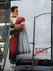 IMG_4456 (Brechtbug) Tags: shazam billboard 42nd street new captain marvel the big red cheese poster ad nyc 2019 times square movie billboards york city work working worker paint painting advertisement dc comic comics hero superhero alien dark knight bat adventure national periodicals publication book character near broadway shield s insignia blue forty second st fortysecond 03232019 lightning flight flying march