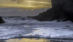 Bubble and Creamy Waves (Selectivebits) Tags: california davenport water beach sunset wave bubble sea ocean rock