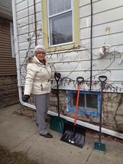 Shovel-Ready! (Laurette Victoria) Tags: coat parka pants hat gray laurette woman gloves