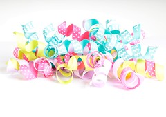 Curly Ribbon (Karen_Chappell) Tags: ribbon curls curly curl pastel white pink blue yellow product macro stilllife highkey bright multicoloured colourful cute colours colour color polkadots decor decoration trim