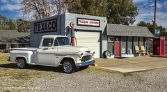 Fill 'er Up (Kool Cats Photography over 11 Million Views) Tags: route66 streetphotography station gasstation yukonok oklahoma architecture historic historical history texaco chevy truck trees sky clouds
