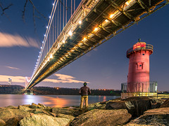 The Little Red Lighthouse (Brian D' Rozario) Tags: brian19869 briandrozario nikon d750 lighthouse littlered littleredlighthouse thelittleredlighthouse beacon red bridge georgewashingtonbridge solo travel traveller traveler nyc ny newyork newyorkcity longexposure hdr highdynamicrange nightscape cityscape urbanscape architecture history historic reflection riverbank hudson suspension