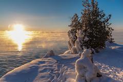 Burning Sun (scott5024) Tags: door county sunrise dawn trees snow ice lake michigan cave point wisconsin