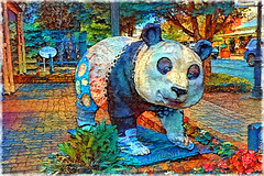 The whole point is to live life and be - to use all the colors in the crayon box. (RuPaul) (boeckli) Tags: 006313 rx100m6 hahndorf southaustralia australia ddg deepdreamgenerator textures texturen texture textur rahmen frame photoborder panda animal tier statue bunt colourful colorful colours colors colour farbig farbenfroh