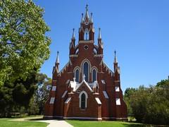 Deniliquin. The amazing facade of the Deniliquin Presbyterian Church built in 1876. It is now the Uniting Church in Deniliquin. (denisbin) Tags: deniliquin riverina townhall church tower presbyterianchurch presbyterian
