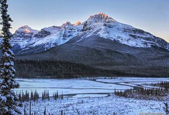 Mount Sarbach and North Saskatchewan River in Banff National Park Canada (PhotosToArtByMike) Tags: saskatchewanrivercrossing northsaskatchewanriver mountsarbach banffnationalpark sunrise saskatchewanriver icefieldsparkway canadianrockies banff albertacanada canadianicefieldsparkway mountain mountains alberta