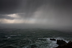 Incoming! (Dom Haughton) Tags: stagnes stagneshead cornwall coast britishcoast cornishcoast kernow rain squall storm windy brooding moody dark winter hailstorm westcountry westcountryclickers west atlantic ocean sea seascape water 5d canon5diii canon5dmkiii canon247028