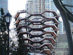 Vessel Stair Case Sculpture Dingus at Hudson Yards 4191 (Brechtbug) Tags: 2019 march visiting the vessel sculpture hudson yards tower near 34th street midtown manhattan new york city nyc 03172019 west side construction center cityscape architecture urban landscape scape view cityview shadow silhouette december close up skyline skyscraper railroad rail yard train amtrak tracks below grown stair stairs buildings above staircase dingus nypd mini squad cars tiny