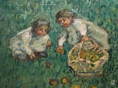 Le Grand Jardin (detail) (sylvain.collet) Tags: enfants france peinture art panier enclos filles jardin animaux lesnabis fruits fleurs coq poule