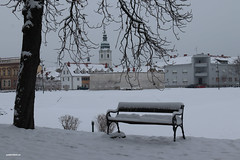 Snow covered Promenade (malioli) Tags: bench city snow winter tree urban town church tower karlovac croatia hrvatska europe canon