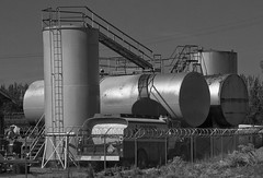 Tanks (arbyreed) Tags: arbyreed tanks petroltanks petroliumbulkplant bulkgastanks gasoline sinclair metal oldmetaltanks industrial monochrome bw blackandwhite