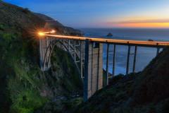 Bixby Bridge Blue Hour Light Trails (optimalfocusphotography) Tags: northerncalifornia california usa landscape bridge nature bigsur longexposure ocean sunset lighttrails coast bixbybridge sea