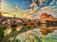 Vacanze romane (Gio_guarda_le_stelle) Tags: rome sunset tevere river castle evening italy reflection holidays i 4x4