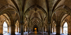 Arches Leading to the Entrance (Johan Konz) Tags: cloisters arches undercroft universityofglasgow building exterior hall gilbertscottbuilding university architecture entrance hunterianmuseum glasgow scotland ceiling pillar arch emptiness depth lines naturallight stairs symmetry