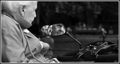day out (Wrightview Photography) Tags: blackwhite streetphotography mirror mobility scooter woman age reflection face eyes nose mouth
