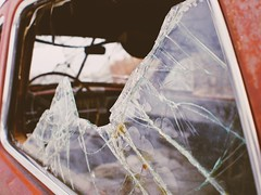 Shattered Past (Ray Mines Photography) Tags: machinery window broken outdoor cold historic steel old car abandoned