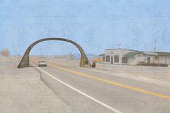 United States Highway 61 Arch (LarryHB) Tags: digitalart larrybraunphotography hdr horizontal photography texture smalltown americana nrhp missouri pemiscotcounty architecture historic road momument