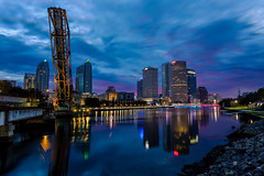 Pink Dawn Over Tampa Wide (Photomatt28) Tags: beercan effects florida hillsboroughriver reflection rivergatebuilding skyline sykesbuilding tampa tampariverwalk unitedstates us