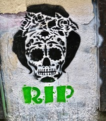 RIP, London, UK (Robby Virus) Tags: london england uk unitedkingdom greatbritain britain gb english british skull death head rip artist street art stencil graffiti