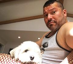 IMG_9635 (danimaniacs) Tags: dog tanktop self portrait enzo friends beard scruff
