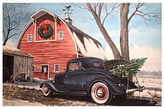 """Tree Trunk"" (BT Illustrations) Tags: art watercolor watercolors 34 ford barn horse winter christmas greetingcard painting"
