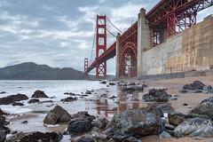 Near the Bridge (Matt McLean) Tags: architecture bayarea beach bridge california coast goldengate rocks sanfrancisco shore