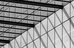 Lines everywhere (Leipzig_trifft_Wien) Tags: frankfurtammain hessen deutschland de line geometry structure pattern building light shadow bnw blackandwhite black white grey steel glass modern contemporary architecture city urban