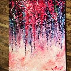 Painting 2 (dhdyksterhouse) Tags: tree cherry cherryblossom leaves flower flowers japan impressionist impressionism art artist acrylic acrylicpainting painting paint bright pink