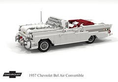 Chevrolet 1957 Bel Air Convertible (lego911) Tags: chevrolet chevy chev 1957 classic 1950s bel air belair convertible softtop gm general motors v8 chrome fins auto car moc model miniland lego lego911 ldd render cad povray afol usa america foitsop