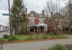 House — Lexington, Kentucky (Pythaglio) Tags: house lexington kentucky unitedstatesofamerica us dwelling residence historic twostory brick queenanne eclectic romanesque chimneys rusticated stone stonework voussoirs stringcourse porch columns spandrels integralgutter sidewalk street trees fayettecounty