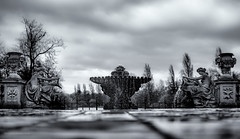 Dance on the wind (toniertl) Tags: london city toniphotoxoncouk kensingtongardens hydepark fountain spray water droplets bokeh lowangle cornucopia barebreasts statue sculpture monochrome blackandwhite bw surreal soft hardness
