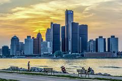 Detroit Skyline at Sunset (David Hamments) Tags: rivefront sunset detroitskyline windsor flickrunitedaward