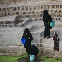 Women Taking Water From A Cistern Covered By Lentils, Shahara, Yemen (Eric Lafforgue) Tags: adult arabia arabiafelix arabianpeninsula architectural architecture bucket child cistern colourpicture dailylife day duckweed float fourpeople fulllength girl historical history inblack jebelalamir jebelfeesh littlegirl placeofinterest realpeople severalwomen square stairs stonestair takingwater water woman yemen yemeni younggirl img7109 shahara