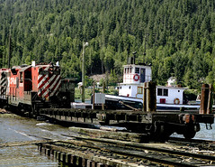 Slocan City BC Tuesday June 25th 1985 1150 EDT (Hoopy2342) Tags: train rail railroad railway tug barge slocancity bc britishcolumbia canadianpacific canadianpacificrailway slocanlake slipdock