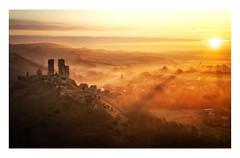 Golden Corfe (Rich Walker Photography) Tags: corfe castle castles uk england landscape landscapes landscapephotography landmark landmarks dorset sunrise mist sunrays hill canon efs1585mmisusm eos eos80d