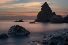Alberquillas (Alex Mogo) Tags: horizon over water coastline seascape beach sea sunset ocean waterfront wave bay sky clouds sun sunrise rocks light beautiful fineart longexposure focusstaking misty mist dramatic landscape landscapes cloudy scenic spain malaga nerja alberquillas