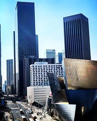 My Los Angeles 74 - Downtown Los Angeles A view up Grand Avenue with the Walt Disney Concert Hall and The Broad in the foreground. Taken from the top floor of the Stanley Mosk Courthouse while on jury duty today. I always make a point of taking photos fro (dewelch) Tags: