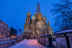 Sunrise in St. Petersburg. (Oleg.A) Tags: saintpetersburg square russia church street frost city orange snow morning orthodox style cross wall yellow sunrise art old brick cityscape town exterior blue colorful antique cathedral dome winter skyscape window design architecture sky catedral petersburg russian st leningradoblast ru