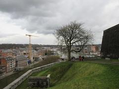 Slope at Citadelle, view to the confluence, Namur, Belgium (Paul McClure DC) Tags: namur namen belgium belgique wallonia wallonie feb2018 historic architecture scenery castle citadel ardennes